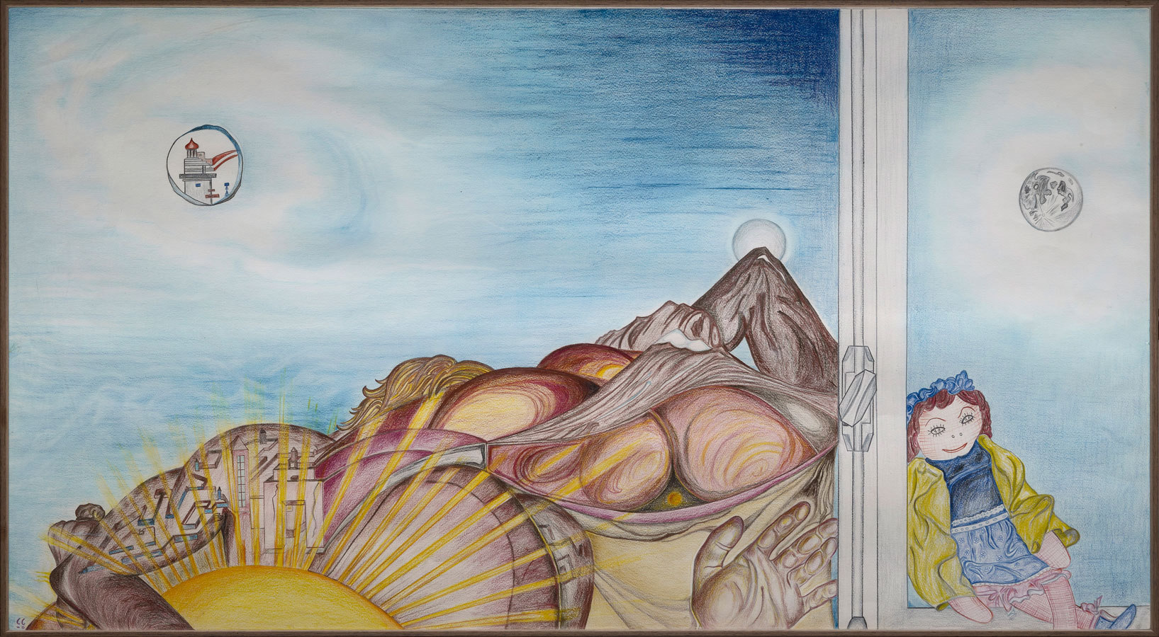 APOLLON ET JULIETTE | 1984, crayons de couleurs, 110 x 60 cm | Photo Erwan Masson