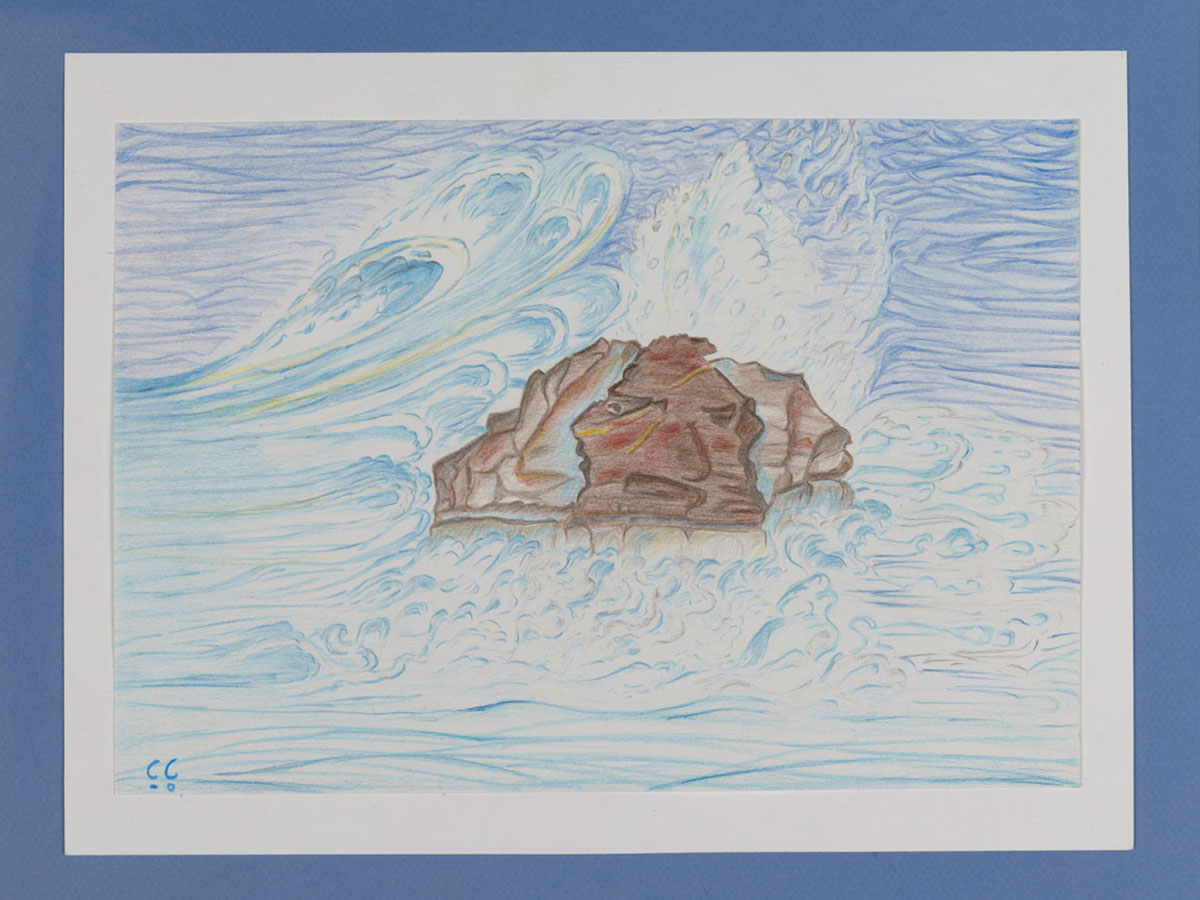 AGAMEMNON ON THE ROCKS | 1990, crayons de couleurs, 36 x 28,5 cm | Photo Erwan Masson