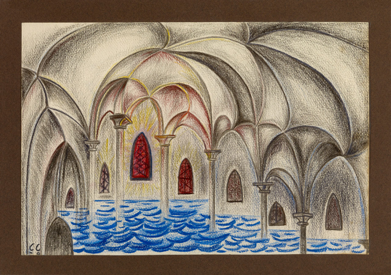 LA CATHÉDRALE ENGLOUTIE | 2000, crayons de couleurs, 27,5 x 19,5 cm | Photo Erwan Masson