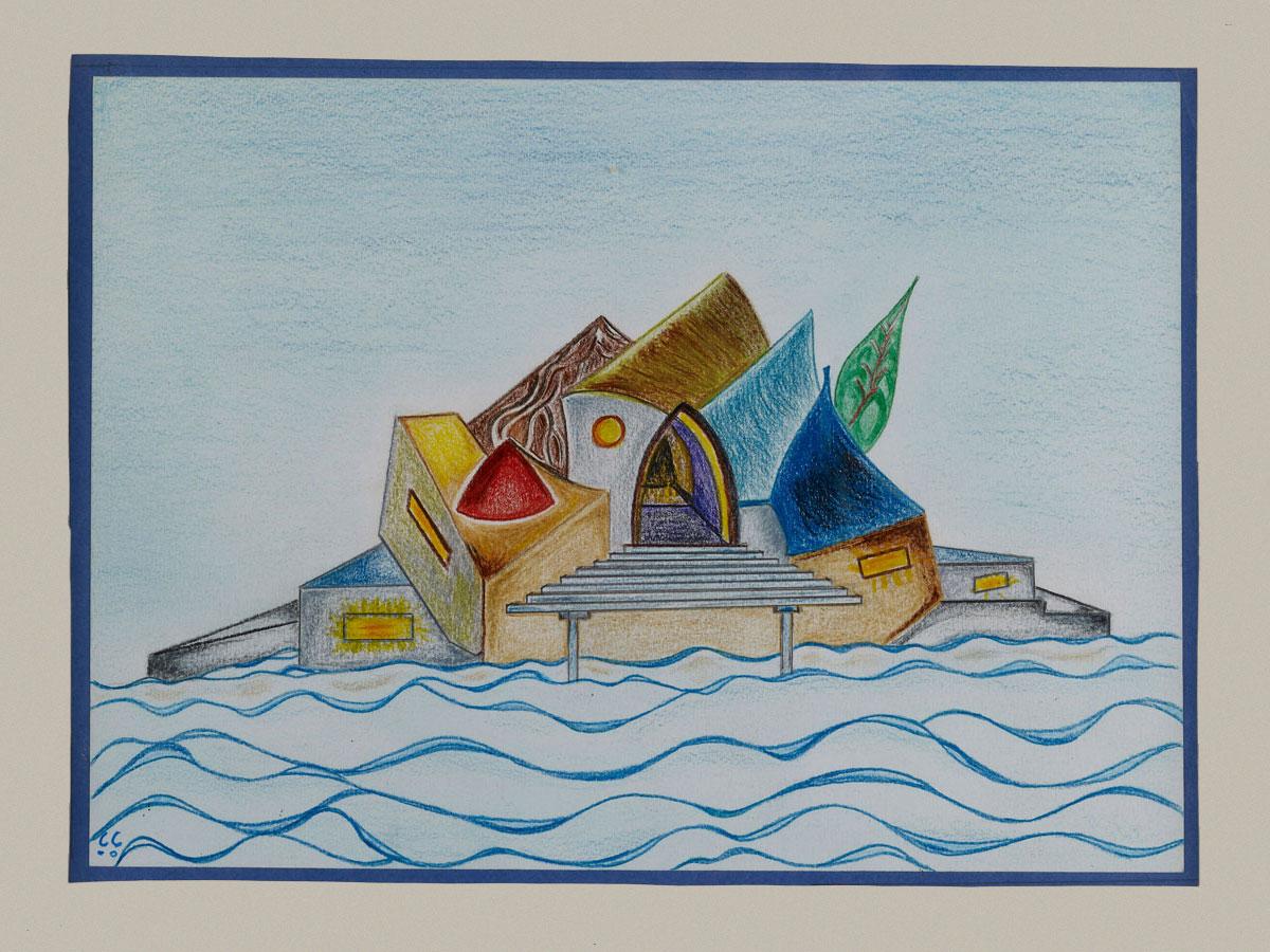 UNE ÎLE | 2002, crayons de couleurs, 32 x 27 cm | Photo Erwan Masson