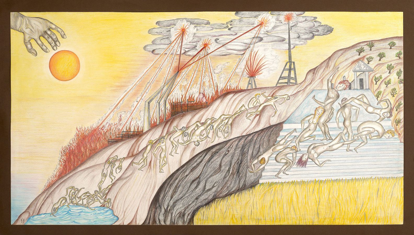 LA GUERRE CIVILE | 2006, crayons de couleurs, 116 x 66 cm | Photo Erwan Masson